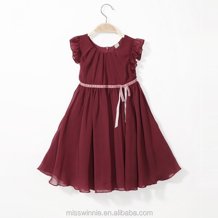 2abd4c06b4c2 Burgundy baby frock designs New kids cotton frocks baby girl summer dress