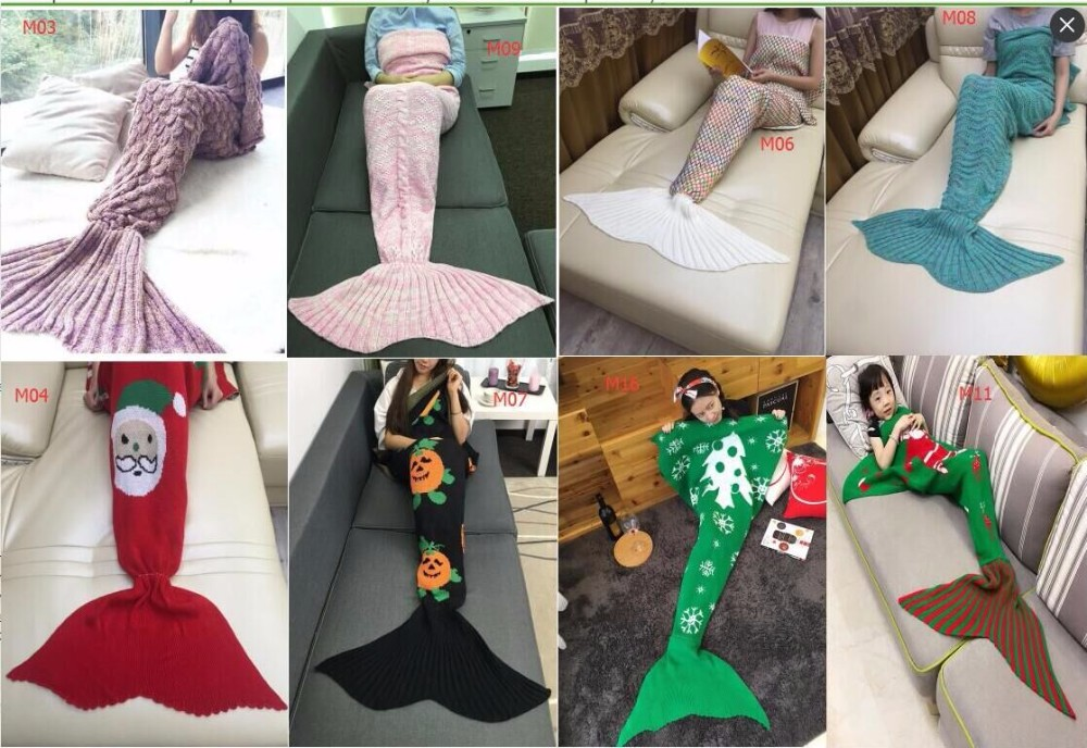 Wool knitted Mermaid Tail blanket handmade crochet mermaid blanket adult throw bed Wrap super soft sleeping bag