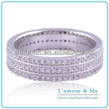 Sample Design All Diamond 14k White Gold Finger Ring For Girls Cz