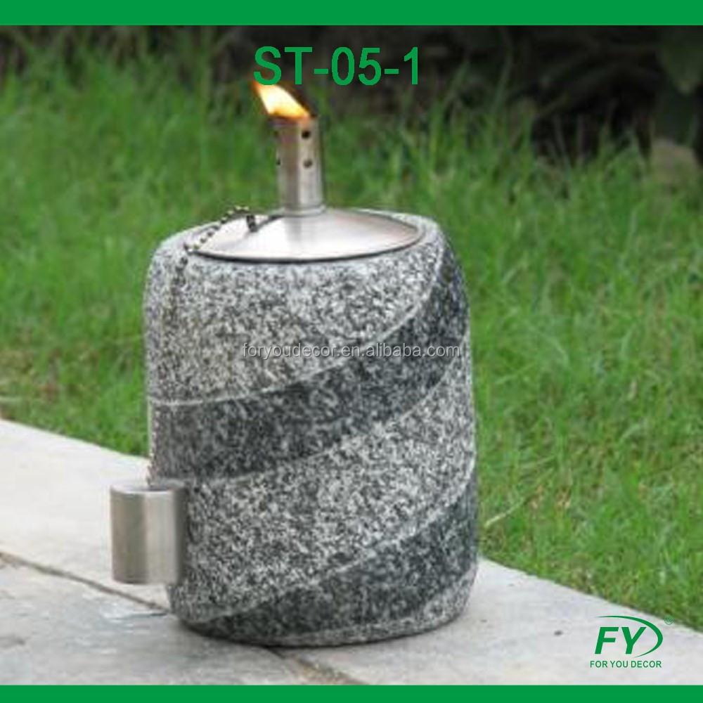 Granit lampe huile jardin torche avec cuve en acier - Meche lampe huile ...