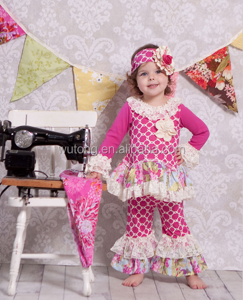 2017 Persnickety Boutique Girls Clothing Wholesale Giggle Moon Remake Flower Girls Floral Printed Dress And Pants Outfits