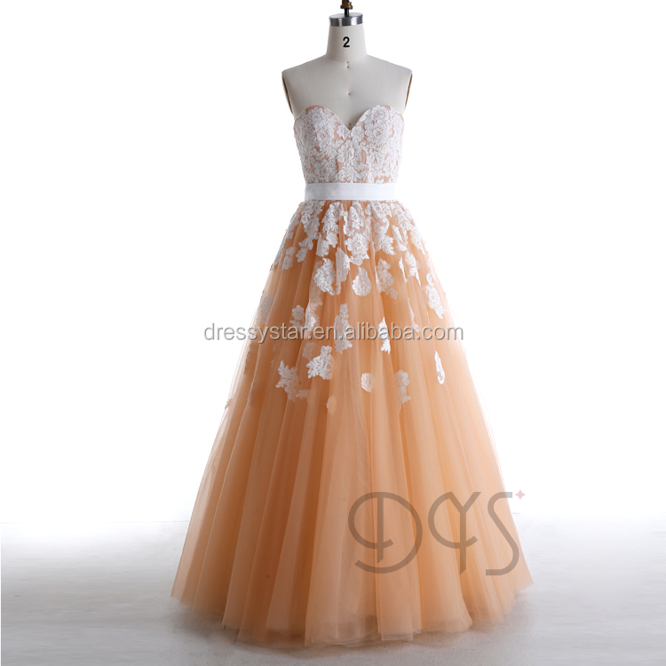 Latest design strapless long ball gown lace appliqued girls pageant dress