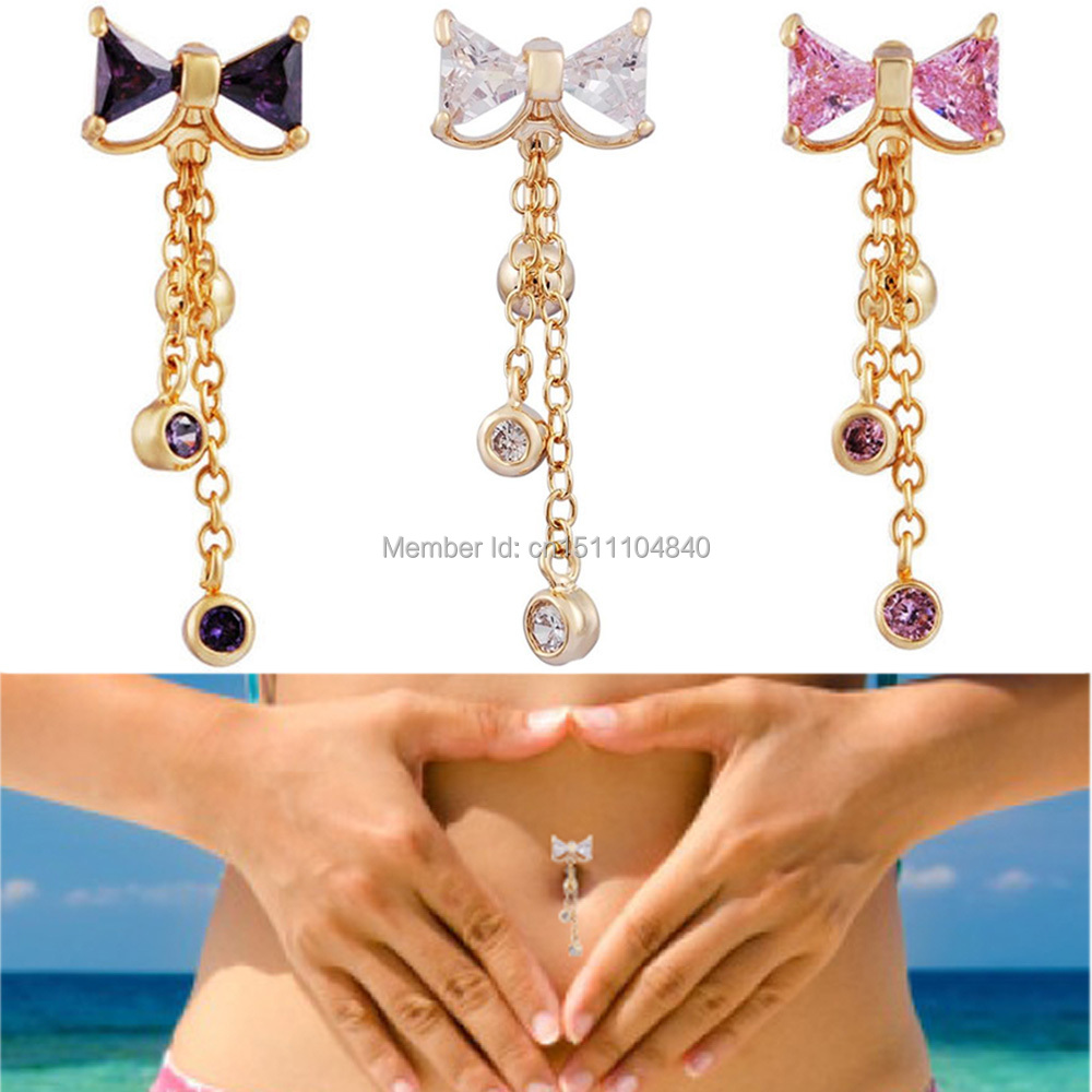 Buy Clear Cz Drop Top Down Navel Ring Reverse Belly Button Piercing