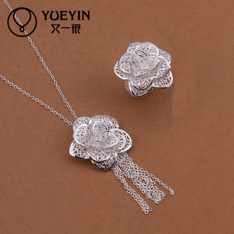 Complex workmanship filigree jewelry wholesale 925 silver jewelry set