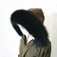 Newest Black Big Size Raccoon Fur Collar /Scarf For Coat In Winter