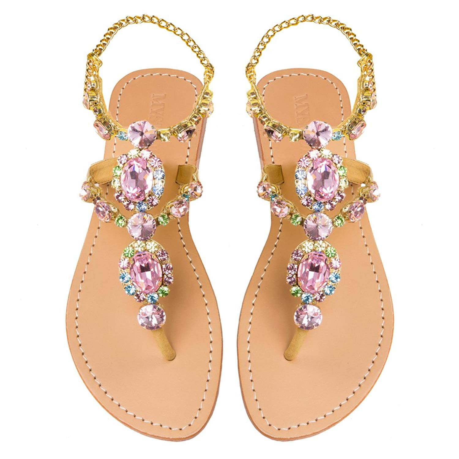bc66d2ce00639 Get Quotations · Mystique Original Genuine Leather Women s Handmade Pink  Jeweled   Embellished Ankle Strap Flat Diamonte Sandals