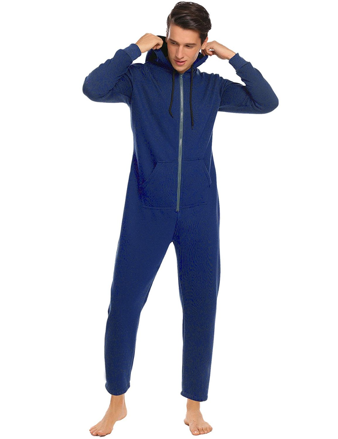 7e8e6e8bff Get Quotations · Ekouaer Mens Onesie Pajamas Adult Hooded Non Footed  Jumpsuit PJS Sleepwear