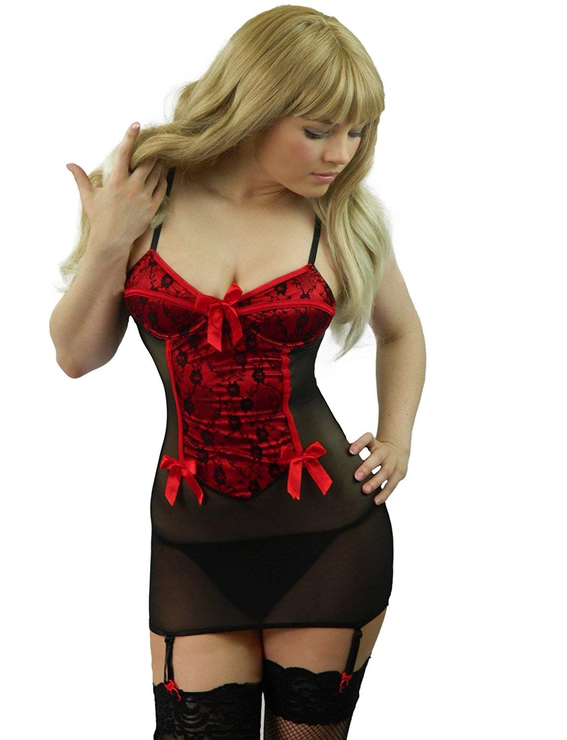 Get Quotations · Yummy Bee Womens Satin Lace Chemise Babydoll Set Suspenders  + Lace Stockings 426170329