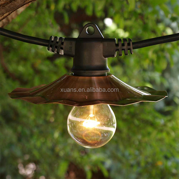 European cafe patio hanging outdoor waterproof globe led string lights with metal shades
