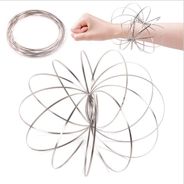 <strong>Fedex</strong>/UPS/DHL Free shipping 13cm Stainless Steel Fidget Toy Rings 3D Kinetic Spring Toy Torofluxus Flowtoy Magic Flow Ring