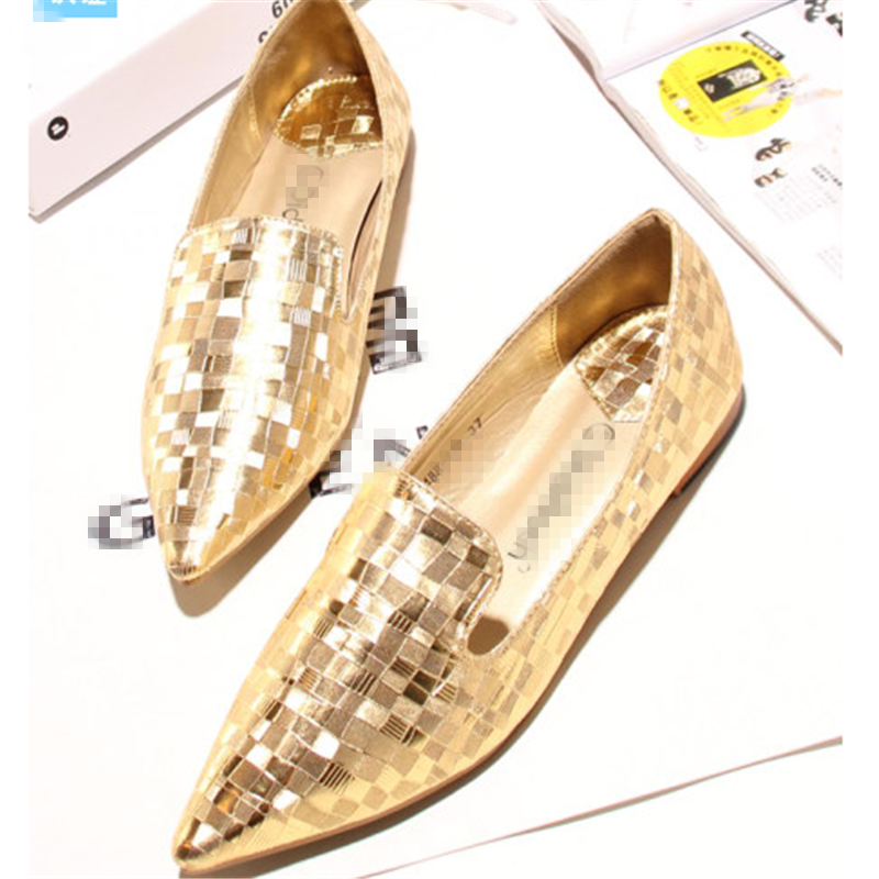 Sequins pointy cheap soft golden silver dress flat shoes