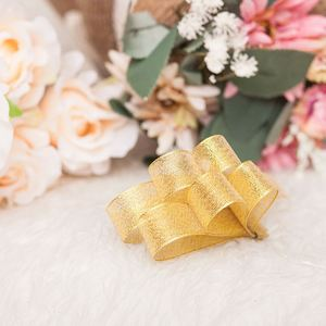 High quality decoration gold polyester metallic ribbon for hair bows