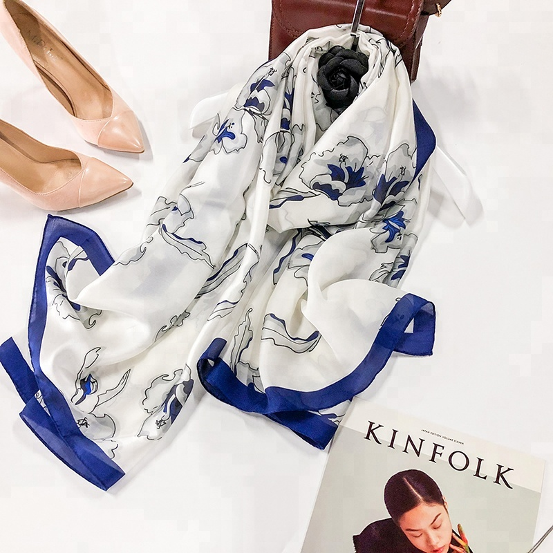 180cm*90cm digital printed light weight fashion cheap price stock white long silk <strong>scarf</strong>