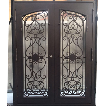 Modern Luxury Artistic Clical Flat Steel Wrought Iron Main Entry Door