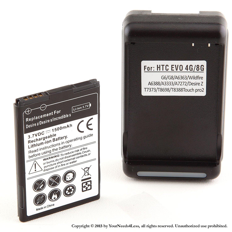 YN4L 1500mAh Replacement Battery for HTC Droid Incredible 2 ADR6350 ; HTC Droid Incredible S S710e + Wall Dock Charger Bundle