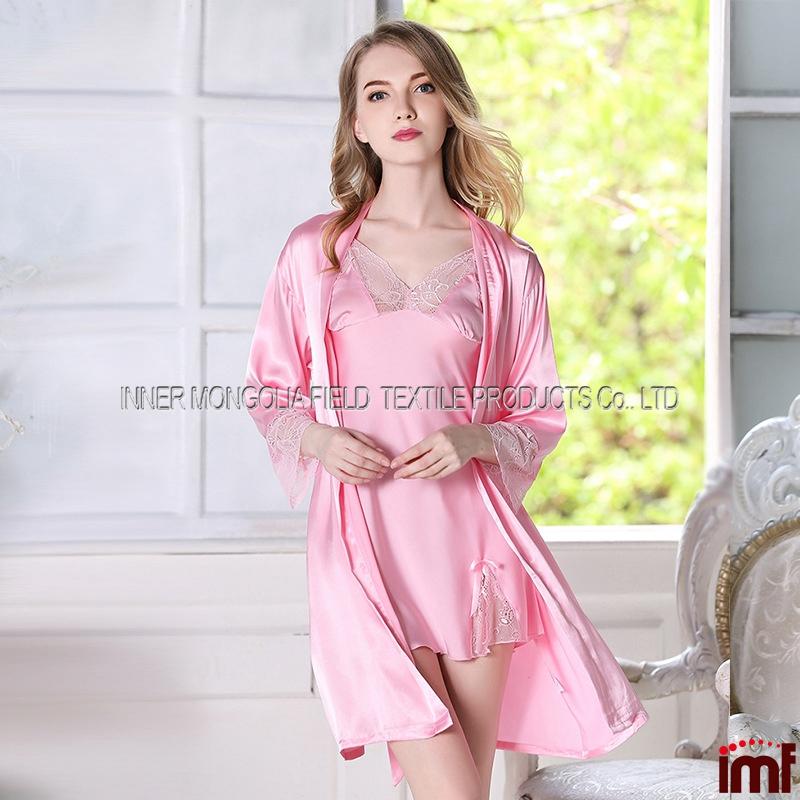 6749a4aeb الحرير الحرير المرأة سيدة ملابس النوم رداء نوم كيمونو ثوب ثوب النوم الوردي
