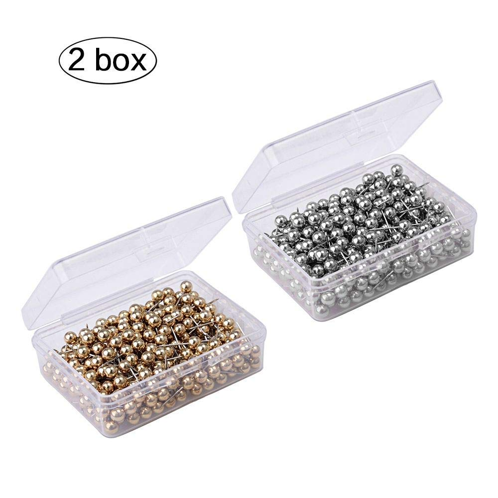 ZHONGJIUYUAN 1000 Pieces 40mm Flat Head Pins Gold Headpins for Jewelry Findings Making DIY Gold