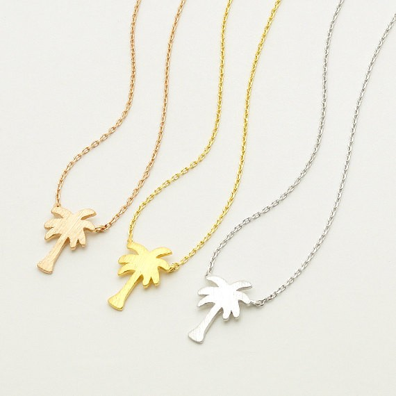 Popular Pendant Necklace Real Gold Plated Stainless Steel Palm Tree Necklace