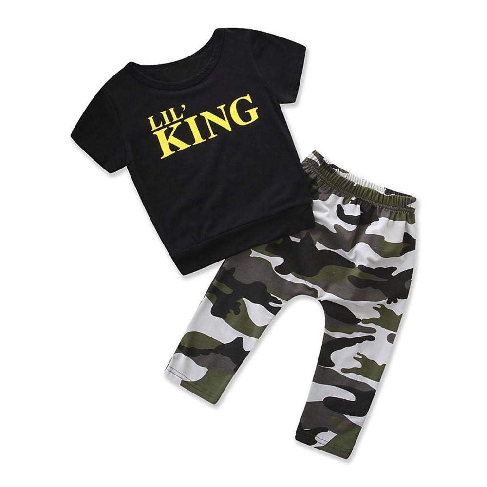 DIGOOD for 0-4 Years Old,Toddler Baby Boys Summer Letter T-Shirt+Shorts,Kids 2Pcs Stylish Outfits Clothes Sets