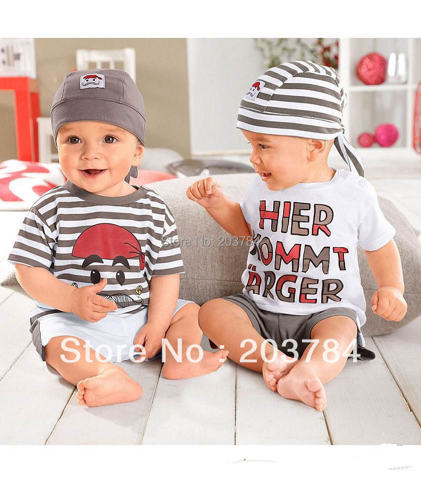 2015 free shipping Retail 1 set Top Quality baby clothing set casual boy hat+tops+shorts kid 3pc suit 2 style in stock
