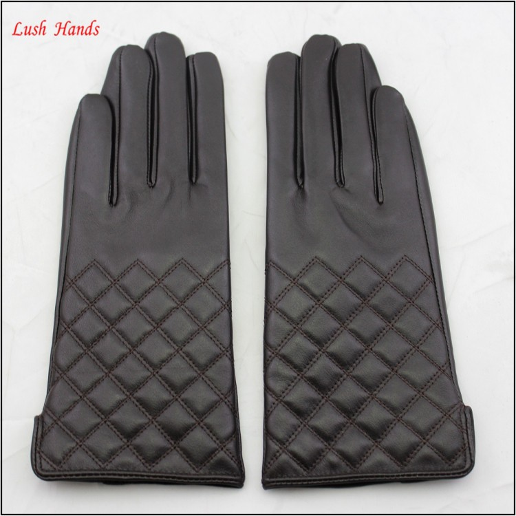 ladies wholesale fashion sheepskin embroidery leather hand gloves