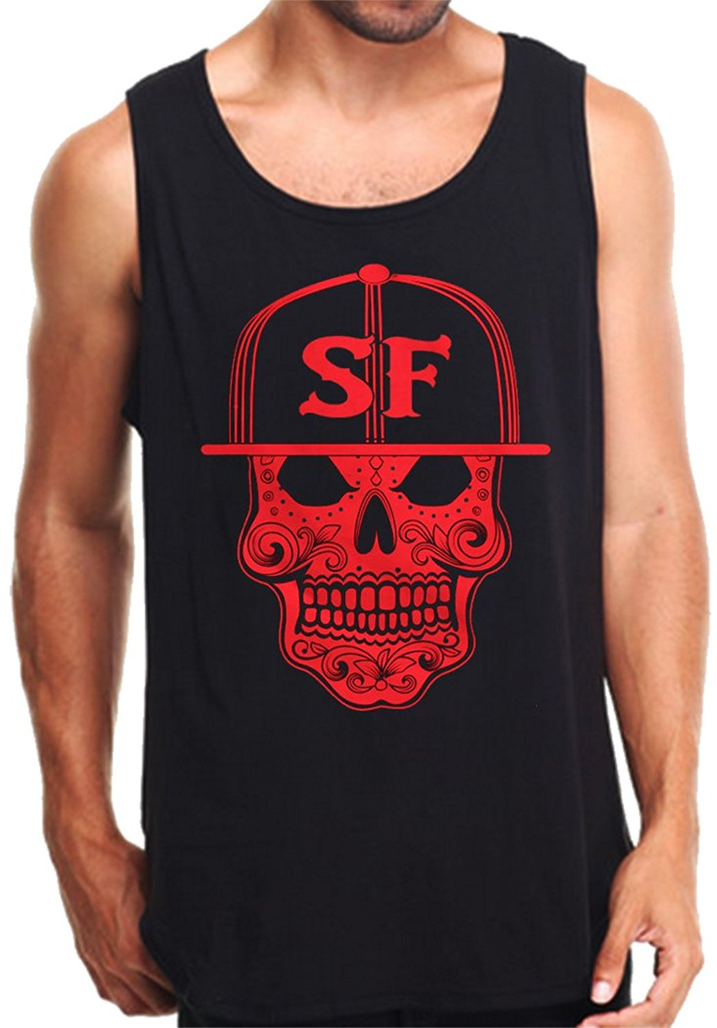 CaliDesign Men's SF Sugar Skull Tank Top San Francisco City