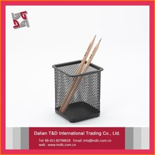 high quality promotional gifts office and school supplies desk square desktop single metal mesh pencil cup pen holder with logo