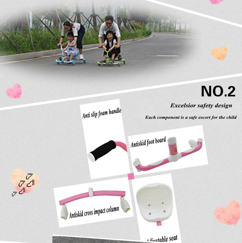 2020 New design High quality factory price children swing car /kids wiggle car baby twist car for Christmas gift