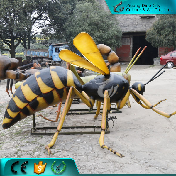 Realistic giant life size metal insects simulation