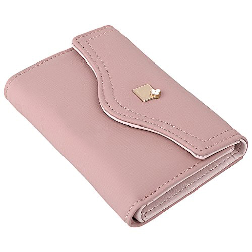 Women PU Leather Wallet Card Holder Organizer Girls Cute Purse with Snap Closure
