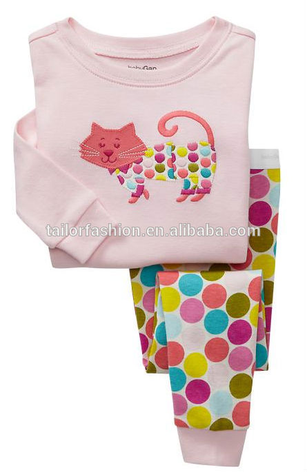Wholesale kids girls cat pajamas girls pajamas cat printing ...
