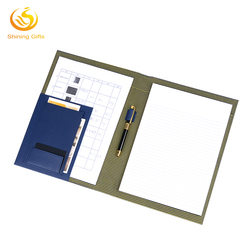 PU Leather Meeting Document Holder A4 Size File Holder With Memo Pad
