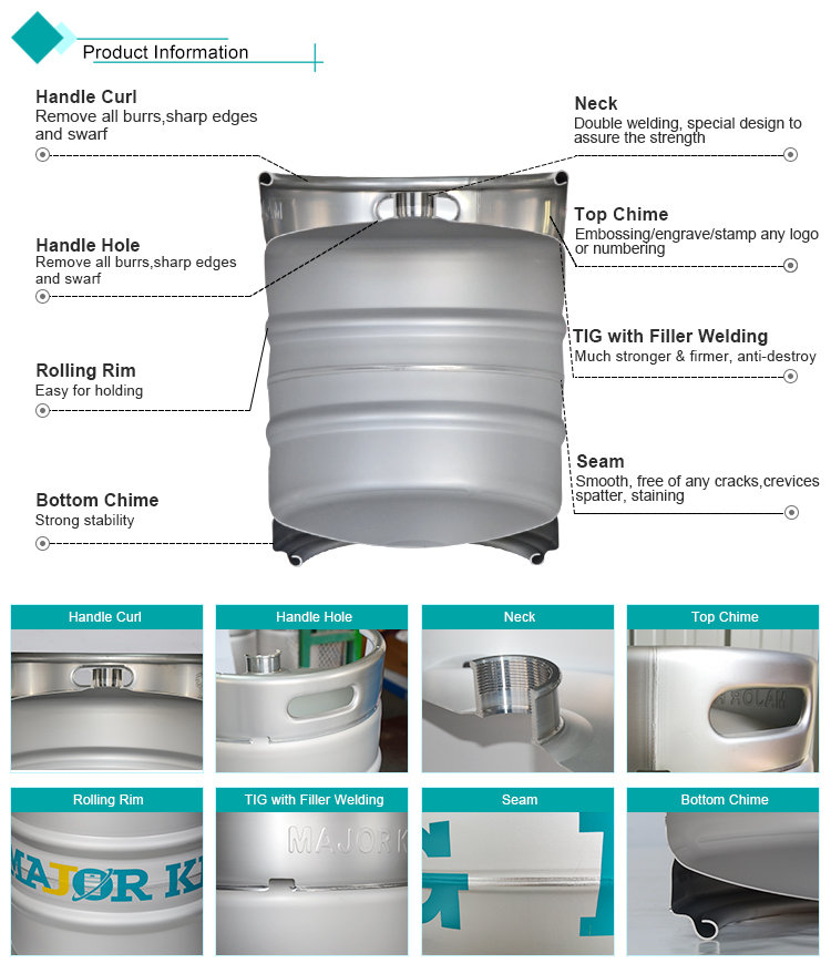 Euro stainless steel cask custom 30l beer buckets