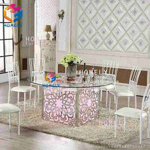 Event Party Tempered glass top stainless steel base led light wedding dining table