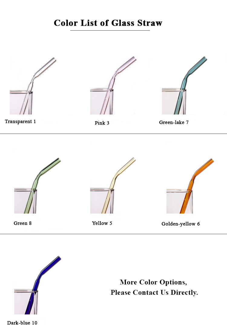 Handmade Pyrex Borosilicate Colored Bent Glass Drinking Straws With Cleaning Brush