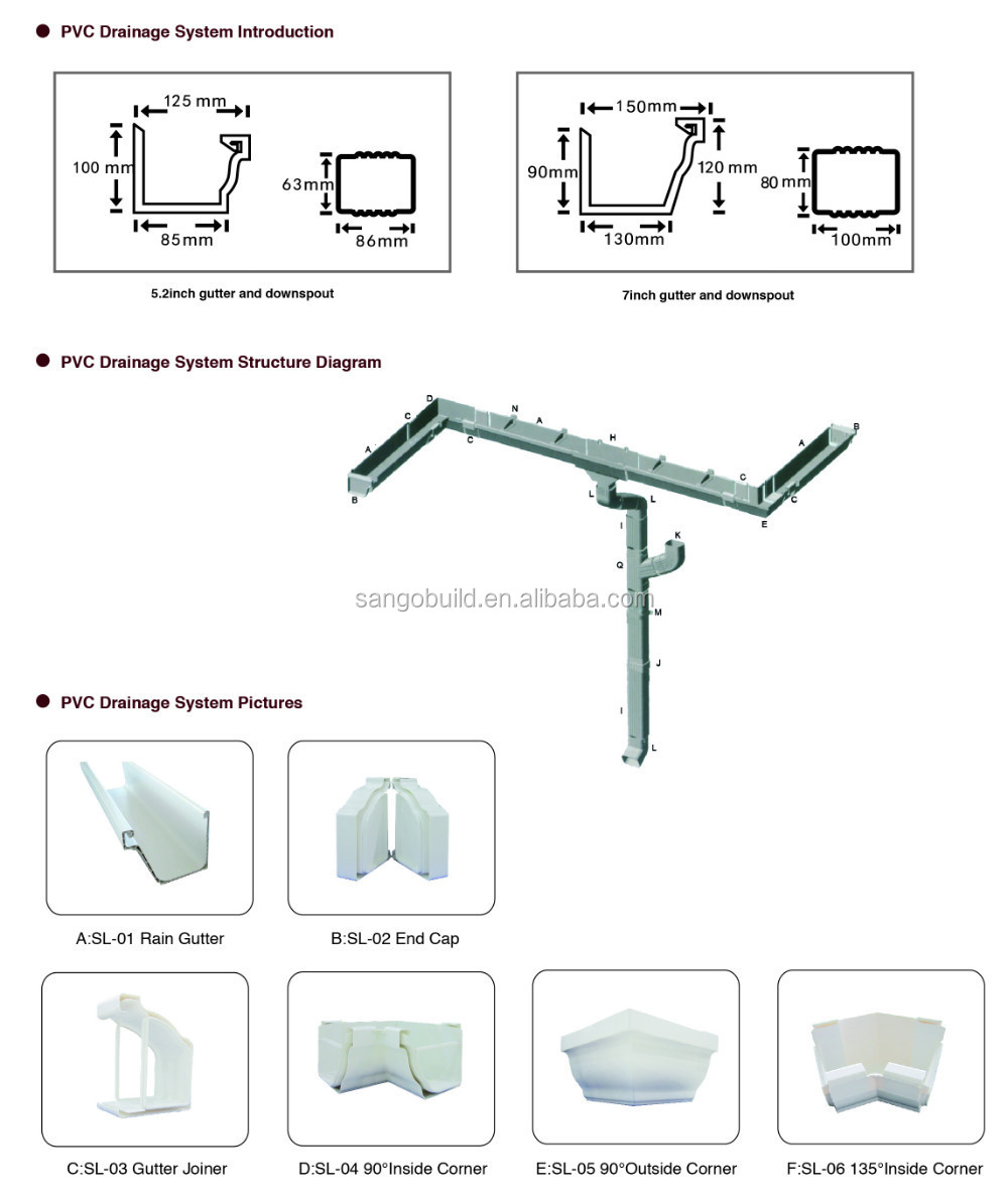 Brand Supplier Good Price Square Pvc Rainwater Gutters