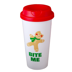 Factory stocked BPA FREE promotional gift plastic coffee cup juice tumbler with lid