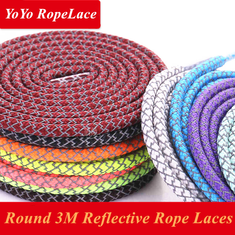 2017 Fuzhou YoYo 3M Reflective Shoe Laces Round 3M Rope Laces for Yeezy 350 Boost