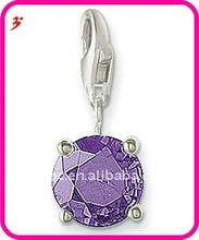 popular alloy February Birthstone charm with lobster clasp for necklace and bracelet jewerly(H100830)