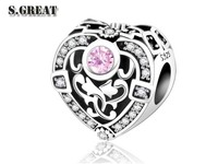 ladies custom pierced diamond beads fit pandora jewelry bracelet 925 sterling silver charms fit pandora jewelry