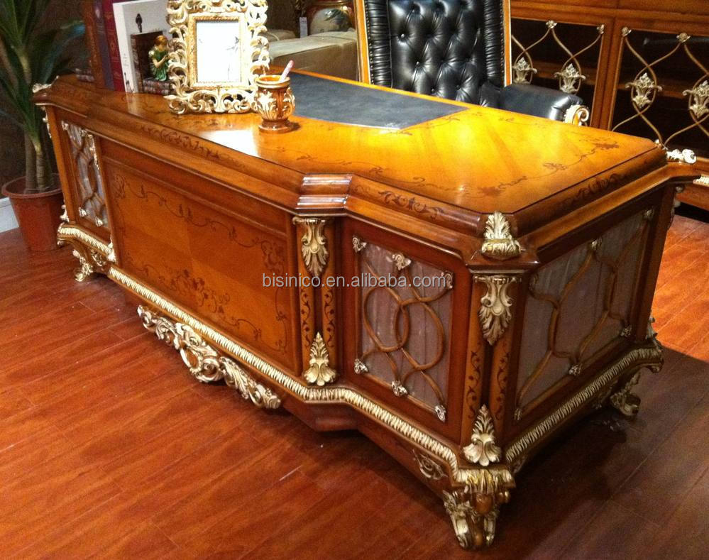 French Baroque Style Luxury Executive Office Desk/ European Classic Wood  Carving Writing Table/ Retro