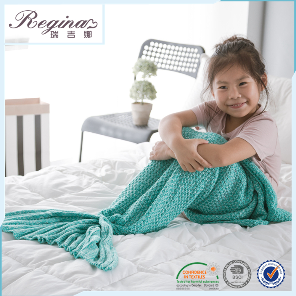 custom children kid knitted stock chunky shark mermaid tail blanket