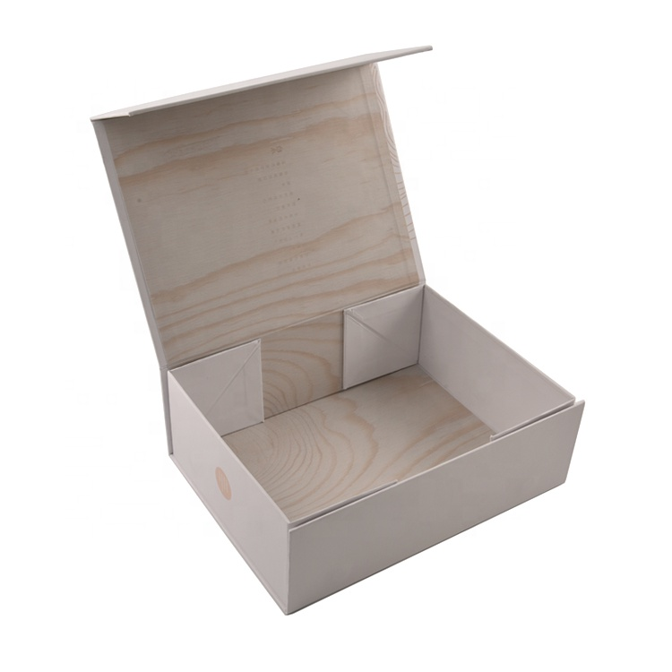 Custom biodegradable folding paper gift box foldable jewelry book packaging magnets closure clamshell paper box