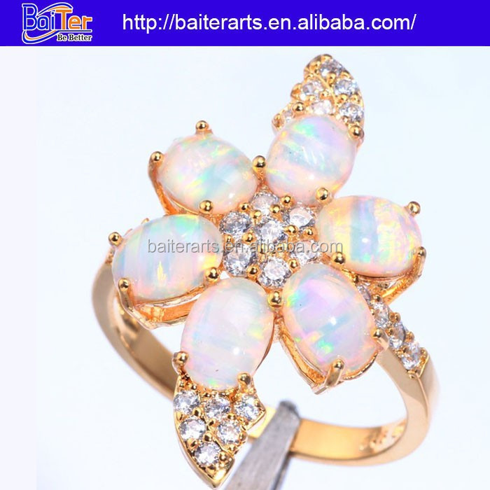 Custom 925 Sterling Silver Opal Yellow Gold Plated Dubai Wedding Rings Yellow Gold Diamond Wedding Ring Jewelry