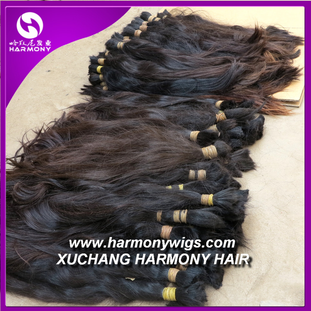 Wholesale raw brazilian bulk hair extensions without weft for wig making