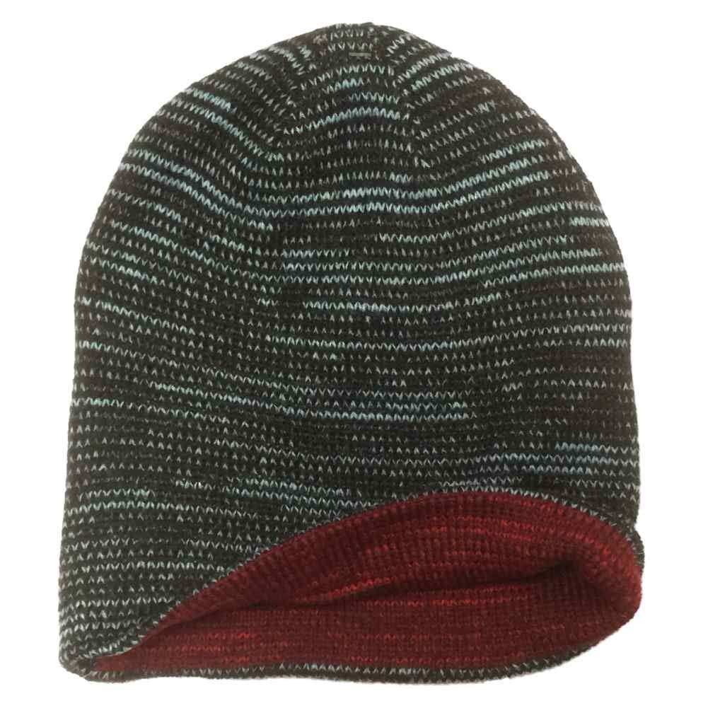 0a6ee2a7ef8 Get Quotations · Aquarius Boys Reversible Black Speckle Beanie Hat Stocking  Cap