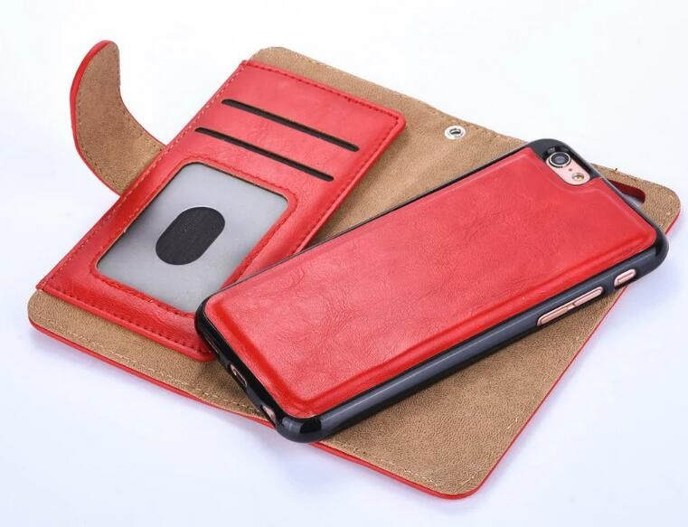 for iPhone 7 Detachable wallet leather case, zipper wallet case for iPhone 7