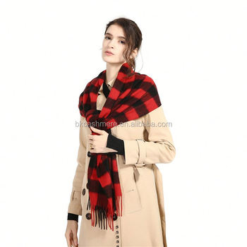 Cashmere scarf factory supply red checked plaid cashmere scarf