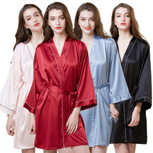 2019 Nouveau style oxiuly Femmes Robe <span class=keywords><strong>de</strong></span> <span class=keywords><strong>soie</strong></span> dames col en V pyjama Décontracté dormir Robe