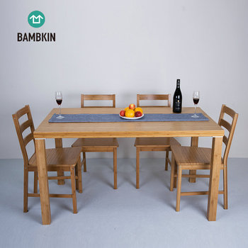 Bambkin Bamboo Dining Room Furniture Kitchen Table Set For 6 Pieces Rectangle